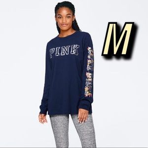 VS PINK Bling Campus Tee Navy M